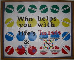 Who Helps You With Life's Twists and Turns? This bulletin board recycled a Twister mat and included resources for elementary school students. This could easily by modified to highlight campus resources for your residence students. Counselor Bulletin Boards, Church Bulletin Boards, Religious Bulletin Boards, Inspirational Bulletin Boards, Health Bulletin Boards, Motivational Board, Counseling Office, Group Counseling, Bullentin Boards