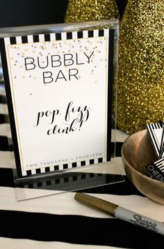 New Year's Eve Printables | Bubbly bar
