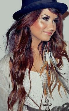 Demi Lavato- waves- color- red- brunette- feather accessories- Fall Hair Color Trends 2013 | Color; Tips Of Hair Color for fall 2013: Hair Color Fall Winter 2013 | best stuff