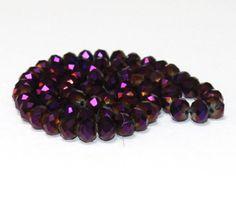 10 x perle electroplate Violet irise 8x6mm, en Verre, Forme ovale a facette -- PVE-0020.6 : Perles en Verre par crehando