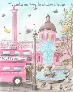 Set of 3 Pink London themed British Art by NurseryRembrandts