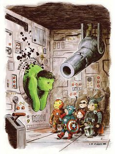 INCREDIBLE AVENGERS ILLUSTRATIONS  www.junkfoodclothing.com