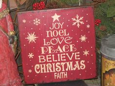"""Primitive Wood Painted Red Christmas Holiday  Sign """" Worded Christmas Tree """"  Love SPirit Noel SUBWAY Sign art Country Folkart Winter"""