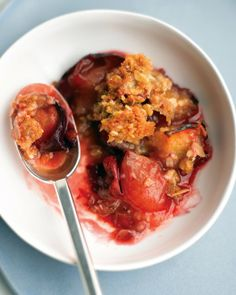 Plum Oatmeal Crisp - I made this with a gluten-free flour and I added cinnamon to the crust. I also tossed the plums in lemon juice. It is so delicious -- like something my Grandma would have made! I predict it will all be gone before the night is over.