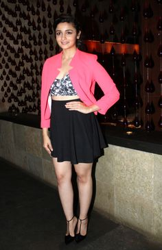 Alia Bhatt in a cute crop top, high waist skirt and pink blazer