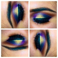 beautiful yellow blue and purple eye makeup