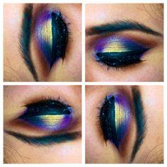 beautiful yellow blue and purple eye makeup