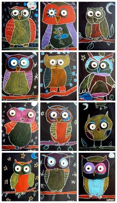 Owls: chalk pastels on black construction paper