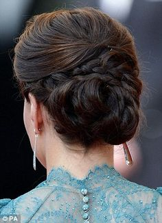 Duchess of Cambridge Kate Middleton Braided Knotted Chignon-Bun Updo Hairstyle 2012 Pictures My Hairstyle, Pretty Hairstyles, Wedding Hairstyles, Wedding Updo, Prom Updo, Prom Hair, Wedding Hair And Makeup, Bridal Hair, Kate Middleton Hair