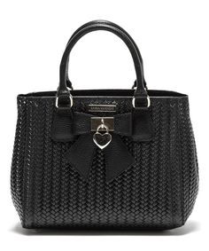 Look at this Luisa Vannini Black Braided Leather Bow Satchel on #zulily today!