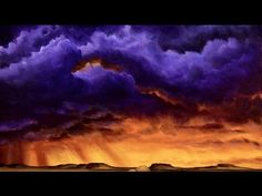 Painting epic sunset cloudy storm