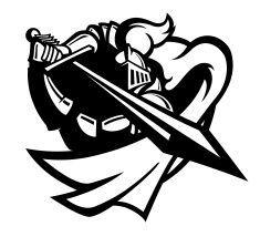 Knight Attack B&W vector art illustration:
