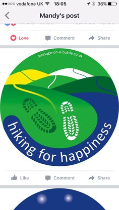 My design won! @messageonabottle #mindfulness #wellbeing #walkingholiday #hikingforhappiness www.hazelbankfarm.org.uk