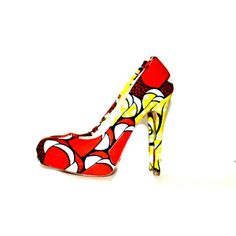 Yellow And Brown African Print Shoes, African Fabric Shoes, Ankara Print Shoes, Bridal Luxury Heels