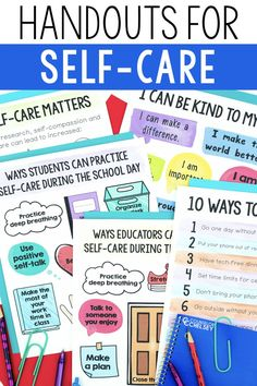 Self-Care Handouts For Teachers, Parents And Students School Social Work, School Staff, School Counselor, School Days, Counseling Activities, Art Therapy Activities, Coping Skills, Social Skills, Handout