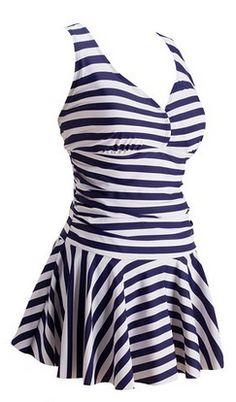 Women's Plus-Size Swimsuit Shaping Body One Piece Swimdress