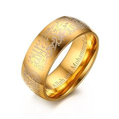 XIMAKA Men's Jewelry 316l Stainless Steel Vintage 8MM Religious Totem Allah Golden Ring