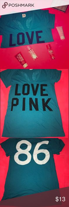 Victoria's Secret PINK Teal V Neck Tshirt Piling from wear. No flaws. Gear condition. Cute writing on the back. Price firm. Bundle for discount. No trades, sorry!  Smoke free home, but have two furbabies. (dogs) PINK Victoria's Secret Tops Tees - Short Sleeve