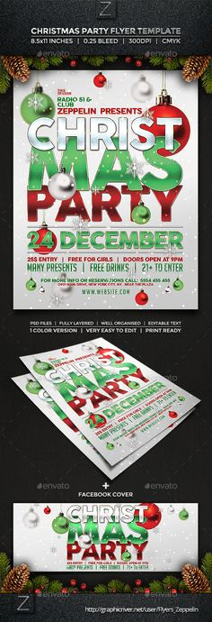 Christmas Flyer Template, Flyer Layout, Event Flyers, Party Poster, Party Flyer, Holidays And Events, Flyer Design, Holiday Fun, Christmas Christmas