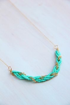 Turquoise Seed Bead Braided Necklace