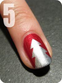 Christmas Tree Nails- Tape design tutorial - This looks like a cute idea for the holidays. If I did this, I'd probably do this as an accent nail to save a lot of work. :P