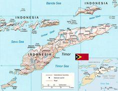 East Timor Map, Capital Dili - Timor Leste in Asia.