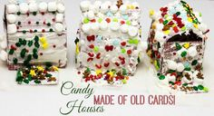 DIY Christmas Candy Houses made out of old playing cards and candy pieces. Don't forget your frosting! Affordable Christmas Crafts for Kids!