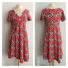 "(Plus) Chevron dress Pink chevron dress. Very stretchy! 96% polyester/ 4% spandex. True to size. Dress shown in photos is size 1x. Bust stretches well beyond each measurement. Not sheer  1x- L: 41"" • B: 38"" 2x- L: 42"" • B: 40"" 3x- L: 43"" • B: 42"" 1x•2x•3x • 2•2•2 Price is firm unless bundled. No trades ⭐️This is a retail item. It is brand new either with manufacturers tags, boutique tags, or in original packaging. Dresses"