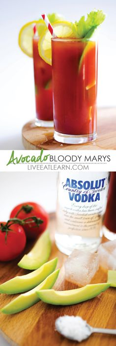 This classic Bloody Mary Cocktail recipe has a quick and healthy spin, avocado! A simple combo of vodka, tomato juice, tabasco sauce, Worcestershire sauce, salt, pepper, and smoked paprika, you'll have this whipped up for your barbeque dinner party in no time! // Live Eat Learn