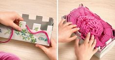 Try this amazingly simple trick toknit ascarf...using abox