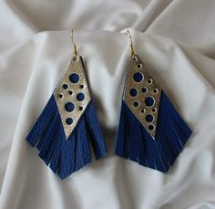 Gold and Blue Earrings  Leather Earrings  Blue and Gold