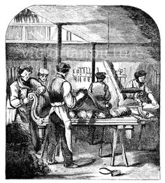 Upholstering. Victorian illustration of upholsterers in their workshop. One man hammers upholstery tacks into the back of a chaise longue, another assembles skeins of horsehair for the seat. The quality of this image, though acceptable, is not perfect, as it was scanned from an early (1858), small original. Download high quality jpeg for just £5. Perfect for framing, logos, letterheads, and greetings cards.
