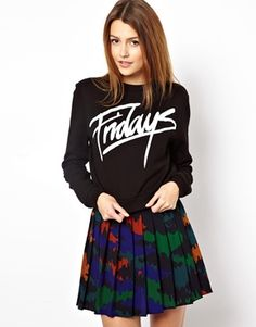 ASOS Cropped Sweatshirt with Fridays Print Size US 6