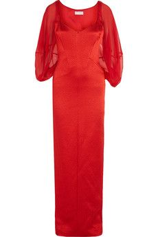 Amanda Wakeley Cape-effect silk-chiffon and matelassé gown   THE OUTNET