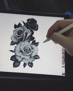 draw, disegno, sketch, roses, tattooo, tatuaggio, tre rose, three roses, realistic, black and white, digital art, rose realistiche, sketch for tattoo, sketch per tatuaggio, art, bianco e nero, arte digitale, tatto by Edwin Basha