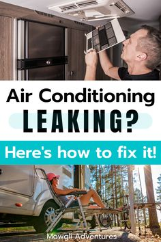 Does your RV Air Conditioner leak when it rains? Here's how you can trouble shoot the problems and fix it fast! Air conditioner repair tips for when your RV Air Con breaks on the road. See what air conditioner repair tools you might need, and RV air conditioner maintenance skills that might be handy to learn before you set off! | RV air conditioner hacks | Rv Air Conditioner, Drain Away, Water Drip, Ac Units, Solar Panel Installation, When It Rains, Heavy Equipment