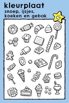 snoep, ijsjes, koeken en gebak, kleurprent, kinderen, eten, verjaardag, feesten • sweets, ice creams, biscuits and cakes, coloring pages, colouring picture, drawing, kids, birthday, food, celebrations • Süßigkeiten, Eis, Kekse und Gebäck, Ausmalbilder, Malvorlagen, Geburtstag, Kinder, Essen, Feste • bonbons, glaces, biscuits et gâteaux, coloriage, image à colorier, enfants, anniversaire, manger, fêtes #freebie #ColoringPages #kleurplaat #Ausmalbilder #coloriage #kids #kinderen #Kinder… Colorful Pictures, Coloring Pages, Ice Cream, Sweets, Drinks, Food, Cook, Ice, Essen