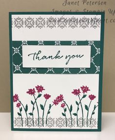Stampin Up Background Bits stamp set (Hostess) with Tranquil Tide and Smoky Slate. Colored the flowers with the In Color Markers. Birthday Background, 2017 Background, Flower Background Design, Tableaux D'inspiration, Stamping Up Cards, Rubber Stamping, Nifty Crafts, Scrapbook Cards, Scrapbooking