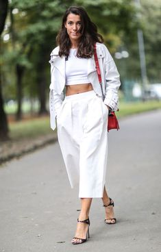 white crop top white pants street style