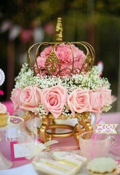 Pink princess tea party impartial budgeted quinceanera centerpieces be sure to Quinceanera Centerpieces, Quinceanera Party, Wedding Centerpieces, Wedding Decorations, Crown Centerpiece, Themes For Quinceanera, Wedding Themes, Candy Centerpieces, Quince Decorations