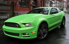 2013 Green Mustang. I WILL own this car. I guess I gotta get a job first... haha