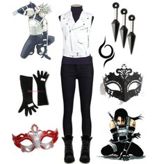 Casual Cosplay - Anbu by casual-cosplay on Polyvore featuring Pinko, THVM, H by Halston, Masquerade, naruto, itachi, cosplay, anbu, kakashi and anime