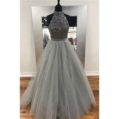 A-line Halter High Neck Grey Tulle with Rhinestone Beaded Prom Dresses (230 CAD) ❤ liked on Polyvore featuring dresses, gray cocktail dress, a line prom dresses, a line cocktail dresses, long cocktail dresses and long gray dress