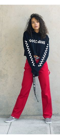 04c2a9d9f1 Outfits 10 Vans Check Cropped Hoodie and Red Dickies Pants