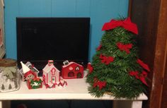 Little garland tree and plastic canvas houses