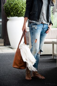 ripped jeans, grey tank, t-bar sandals. #jomercershoes #style #sandals