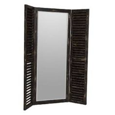 Contemporary. Shutter Mirror in Black Finish from Decorize, Inc.