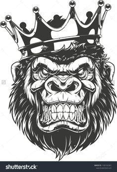 Illustration of Vector illustration, ferocious gorilla head on with crown, on white background vector art, clipart and stock vectors. King Tattoos, Head Tattoos, Body Art Tattoos, Tattoo Sleeve Designs, Tattoo Designs Men, Sleeve Tattoos, Gorilla Tattoo, Gorilla Wallpaper, Crown Drawing