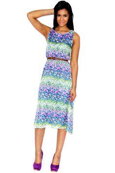 Tara Floral Print Midi Dress www.boohoo.com