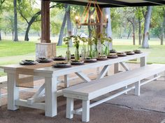 For your next family party, try using a picnic table as your outdoor dining set. It can be used year round and easily be spruced up with new paints to match different seasons of the year.